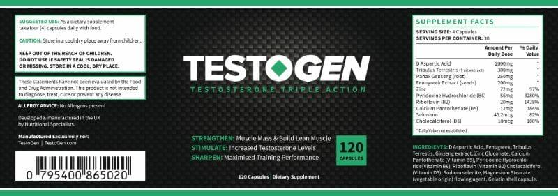 Testogen Ingredients list